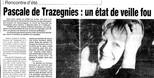 Erotisme et Histoire - article presse - Pascale de Trazegnies