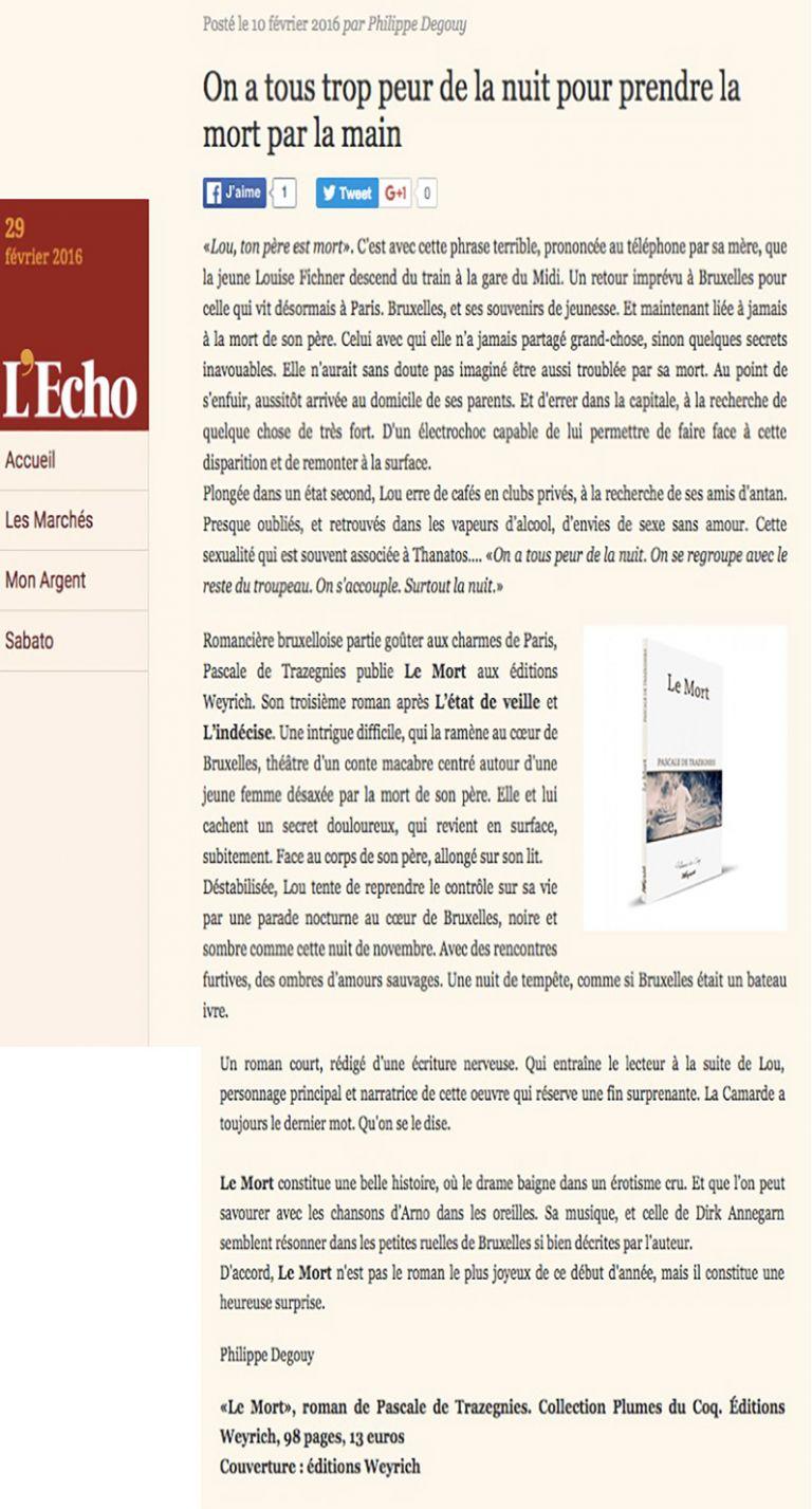 Article revue L'Echos - Philippe Degouy
